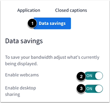 View Data Savings Settings