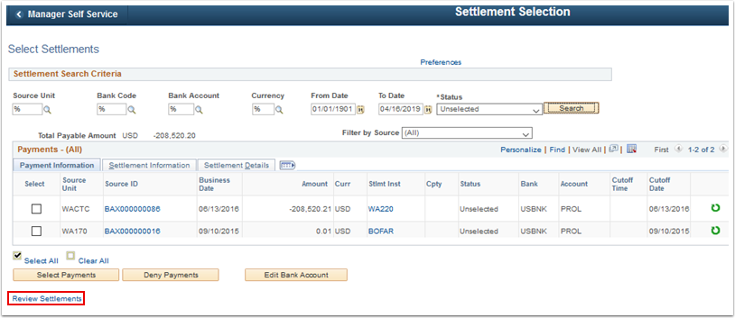Select Settlements page