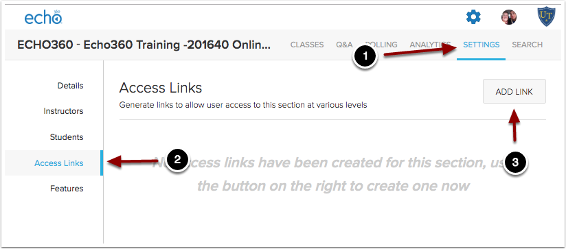 Creating a section access link