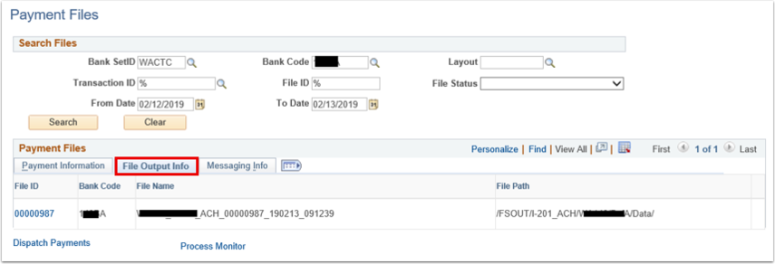 Payment Files page