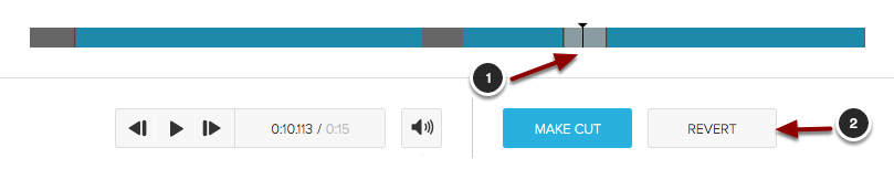 Image of the filmstrip showing a segment being restored with the following items: 1.Click on the segment you wish to restore.2.Click the Revert button.