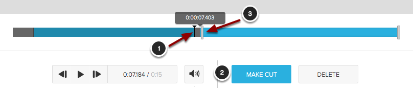 Image of the filmstrip editor showing a cut being made from the middle. The following are shown on screen: 1.Click on the filmstrip editor where you want to make the start of the cut.2.Click the Make Cut button.3.After clicking on the start of the cut, drag the gray handle that appears to the desired end point of the cut.