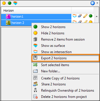 Select multiple horizons to be exported