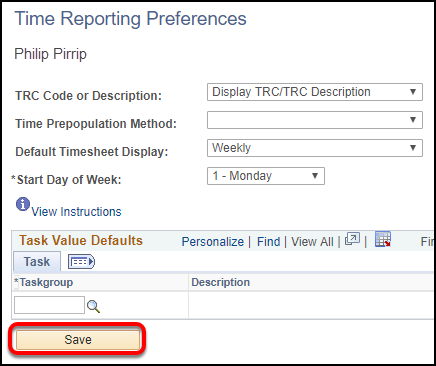save time reporting preferences