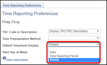 time reporting preferences