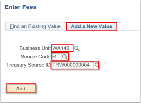 Enter Fees search page