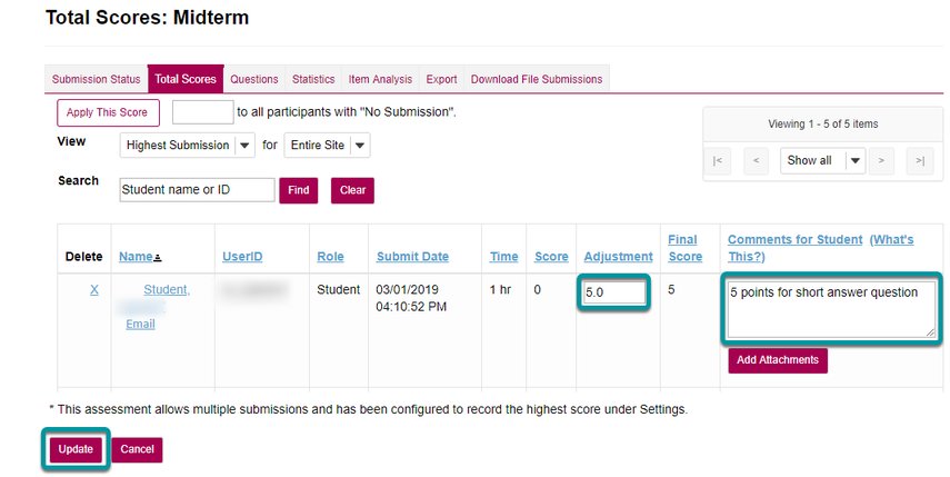 Enter score adjustment and overall comments.