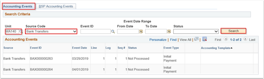 Accounting Events page - Accounting Events tab