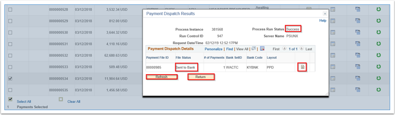Payment Dispatch Results page
