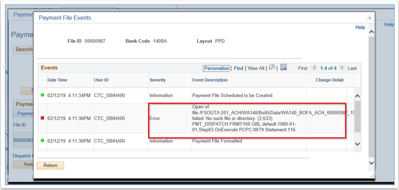 Payment File Events page