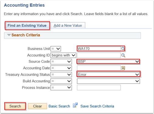 Accounting Entries Search page