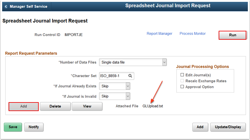 Spreadsheet Journal Import Request page