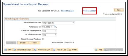 Spreadsheet Journal Import Request