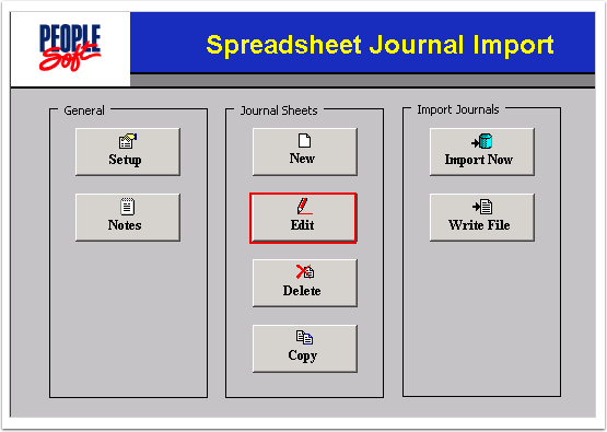 Spreadsheet Journal Import control page