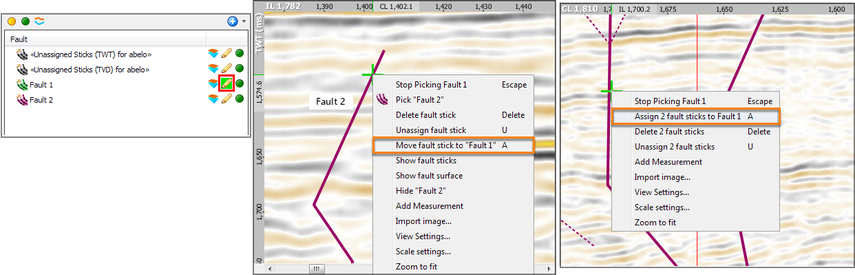 Moving/re-assigning fault stick(s)