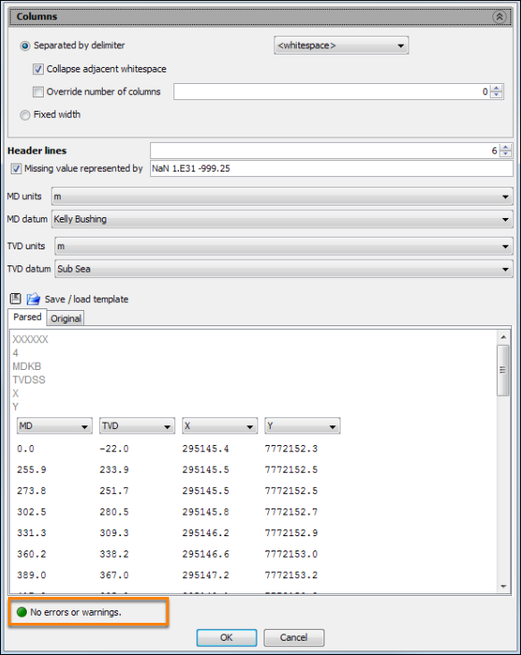 Configure import parameters for deviation file