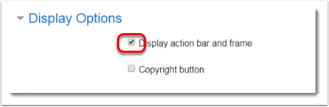 Display action bar and frame is checked