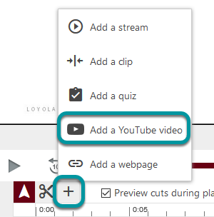 Add a YouTube button in the + menu