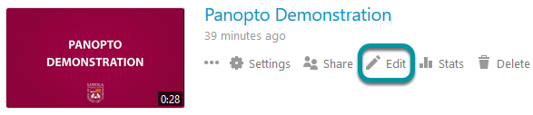 Edit button for Panopto video