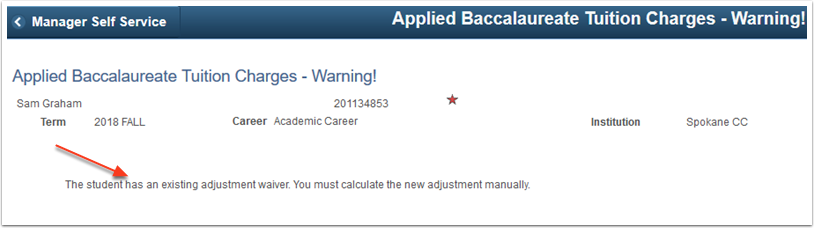 Applied Baccalaureate Tuition Charges Warning page