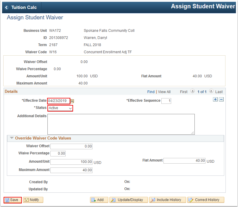 Assign Student Waiver page