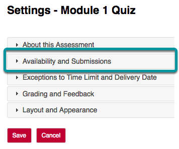 In the assessment Settings page, select About this Assessment.