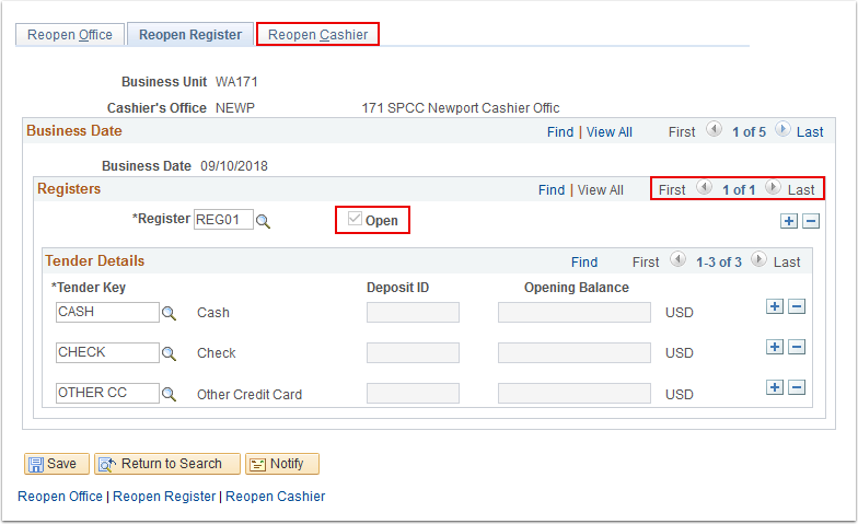 Reopen Cashier Offices page - Reopen Register tab