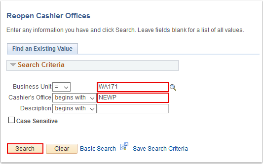 Reopen Cashier Offices search page
