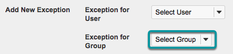 Add a New Exception for a Group