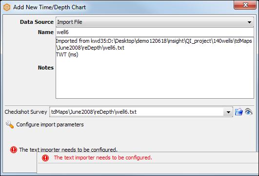 Import a checkshot file