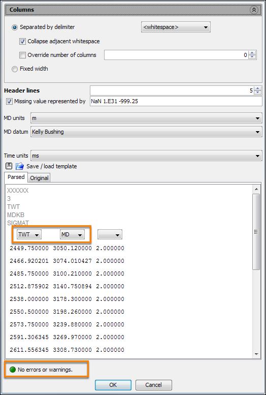 Configure import parameters for checkshots file