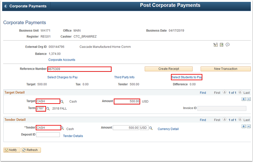 Corporate Payments page