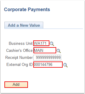 Corporate Payments search page