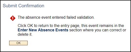 failed validation error sample