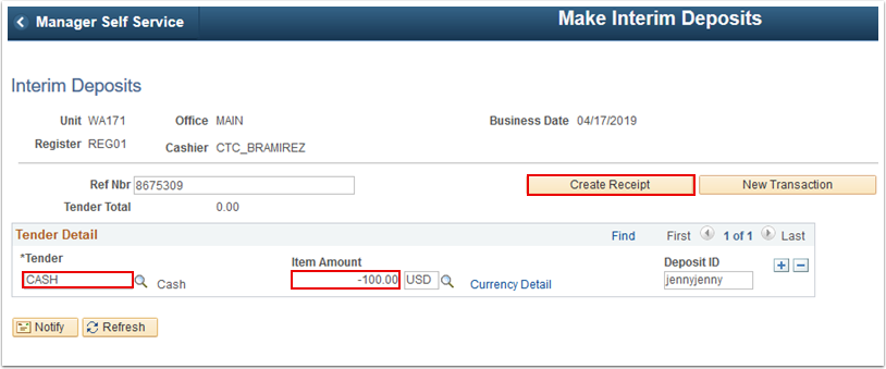 Interim Deposits page