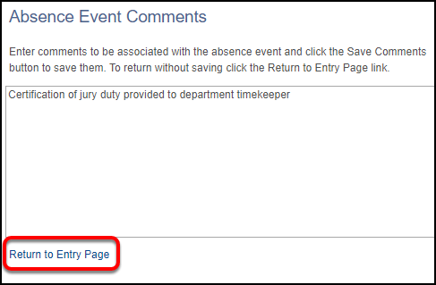 absence event comments