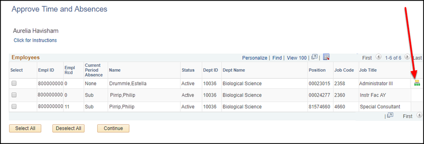 Approve Time and Absences screen