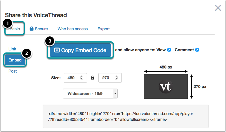 Locate and copy the embed code.