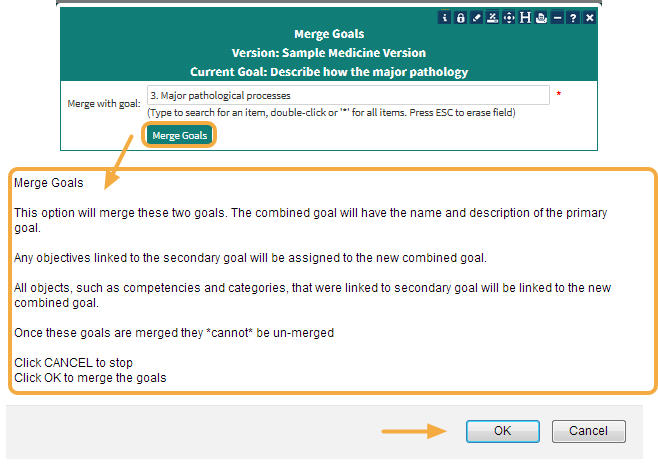 Step 4: Select the Goal you would like to merge with