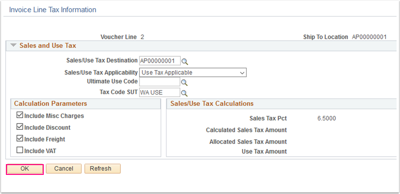 Invoice Line Tax Information window