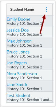 In the Student Name column, click on the more options menu.