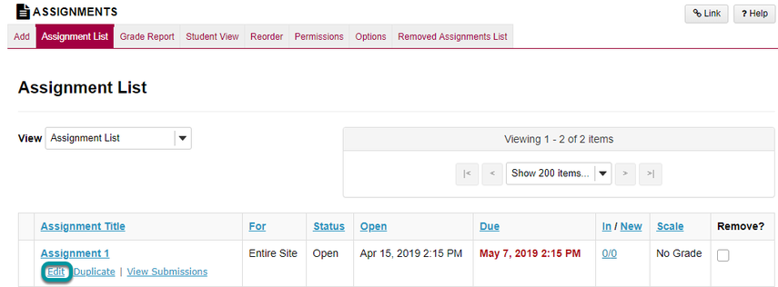 Select the Edit link for the assignment you want to edit.