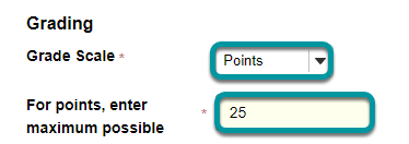 Choose Points as the grade scale and enter a maximum point value.