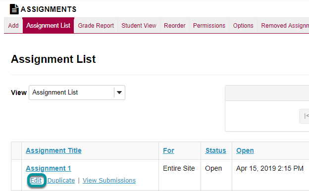 Or, select Edit to modify an existing assignment.