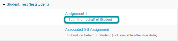 Select Submit on behalf of Student.