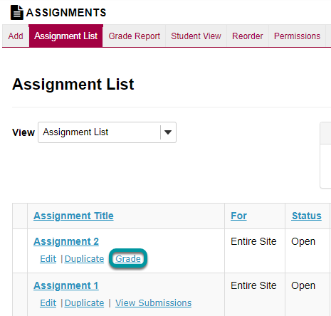 Select the Grade link for the assignment to be graded.