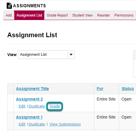 Select the Grade link for the assignment with grades to be released.
