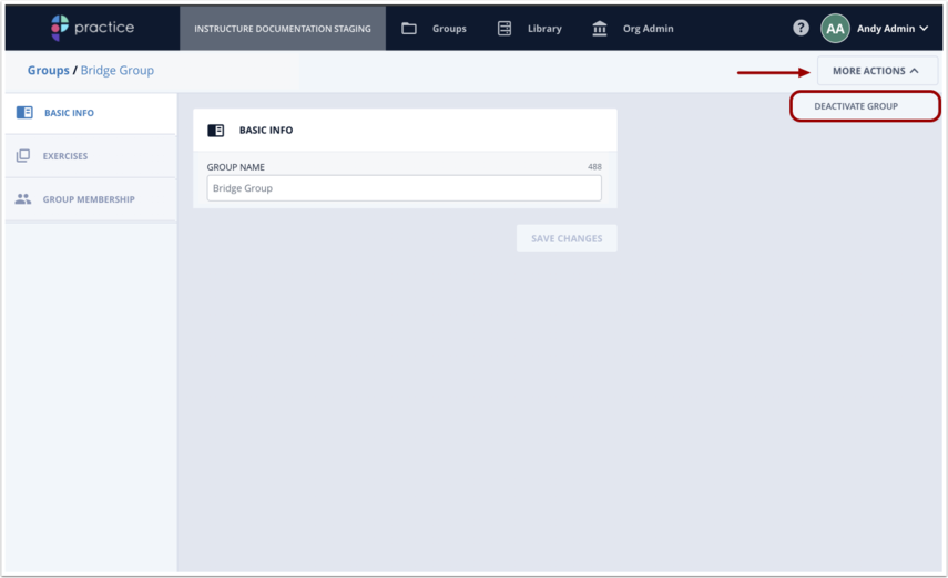 Click Deactivate Group option