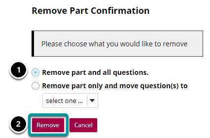 Choose to delete or combine the questions.