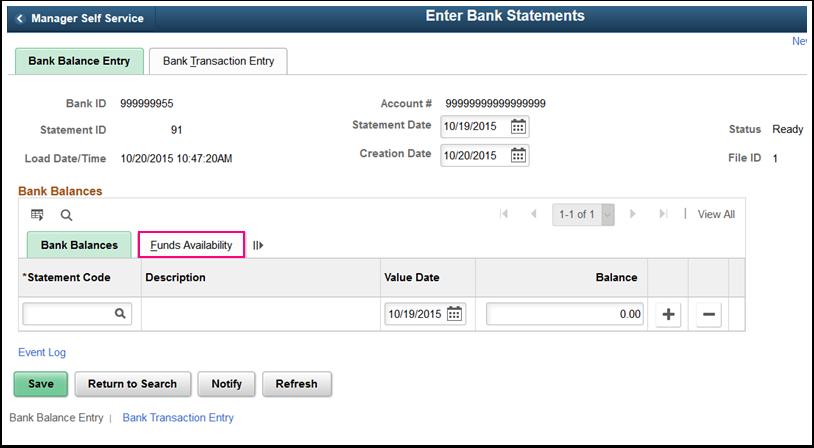 Bank Balance Entry tab